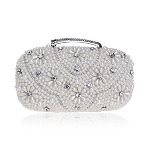 Women Luxurys Designer Bags 2020 Handbag Flower Pearl Crystal Beaded Clutch Rhinestone Evening Bag Shoulder Bag Purse for Wedding Party