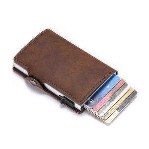 Bycobecy Держатель кредитной карты RFID Блокировка PU кожи MATIC Business ID Держатель карты алюминиевые металлические мужчины кошелек кошелек F QYLJDV