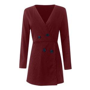Womail комбинезон женщин V-образным вырезом сплошной пассукт красный с длинным рукавом повседневная кнопка офисные шорты Playsuits элегантный асимметричный комбинезон