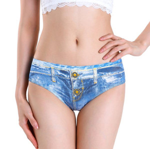 2021 New Womens Panties Cotton Breathable Sexy Low Waist Denim Base Briefs Fashion Casual Female Underwear