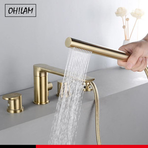 3PC Set Solid Brass Mixing Valve Tap For Bathtub Faucet Hot and Cold Mixer Waterfall Bathroom 3 4Hole Jacuzzi Faucet Accessories