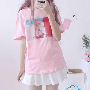 2021 New Harajuku Kawaii Pink t Female Tops Will See Korean Ulzzang Lolita Loose Style Tshirt Schoolgirl Pretty Clothes G304 Fusl