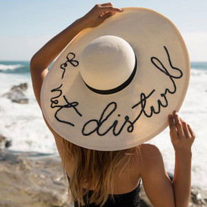 Sequin Letter Embroidered Big Brim Sun Hat Lady Summer female Sun Hat Beach Sun Protection Folding Straw Hat