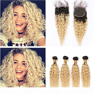 Blonde Ombre Water Wave Human Hair 4Bundles with Closure #1B 613 Ombre Wet and Wavy Brazilian Virgin Hair Weaves with 4x4 Lace Closure