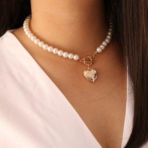 KMVEXO Punk Imitation Pearl Choker Necklace Collar Golden Cross Heart Lasso Pendant Necklaces for Women Jewelry Choker Bijoux