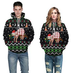Mens Womens Long Sleeve Hoodies Autumn Winter Christmas Plus Size 3D Printed Sweatshirts Loose Male Vintage Clothing