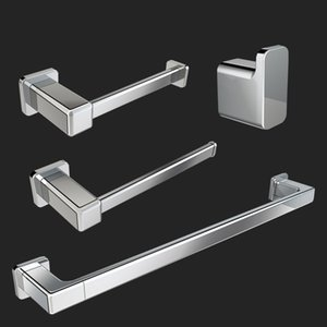 Bathroom Accessories Set of 4, Zinc Alloy chrom Square Wall Mounted Bath Hardware Kit- Includes , Towel Bar  Ring, Toilet Paper Holder, Robe Hooks