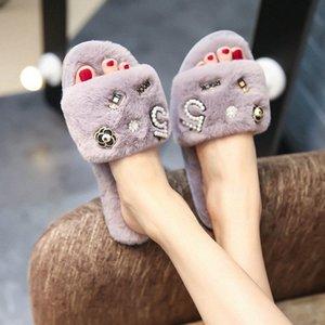 perfume decoration fur slippers women winter flip flops camellia pearl beading fur sandals women pantufas c85 E2JI#