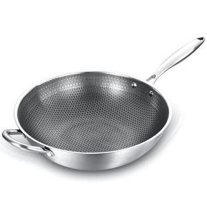 Kaplamalı Pan Yapışmaz Wok 304 Paslanmaz Çelik Woks Kolu Pişirme ile Fry Tavalar Mutfak Tencere
