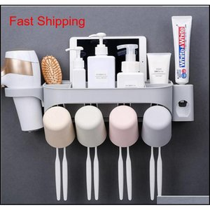 Multifunction Toothbrush Holder Set With Hair Dryer Rack,bathroom Organizer Storage,wall Mounted Matic Toot jllazO mx_home