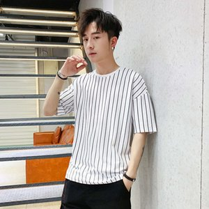 T-shirt men's new summer 2019 student loose and versatile round neck stripe short sleeve Korean fashion casual bottom coat