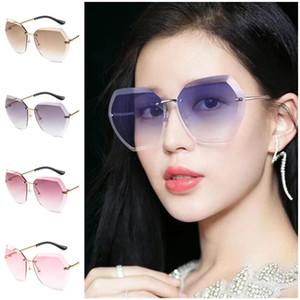 Мода Женщин Солнцезащитные очки RImless Sun Очки Обрезки Очки Очки против УФ-Очки Ориентированные Линзы Adumbral A ++