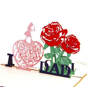3D Up Greeting Cards With Envelope Laser Cut Post Card For Birthday Father's Day Valentine' Day Party Wedding Decoration YHM951