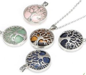 Collar de piedra natural Árbol hueco de la vida Pink Tinger's Eye 'Gemstone Charms Collar Rose Cuarzo Druzy Jewelry Mujeres 83 T2
