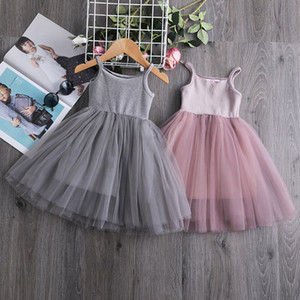Baby girls Lace Tulle Sling dress Children suspender Mesh Tutu princess dresses 2021 summer Boutique Kids Clothing for bithday party