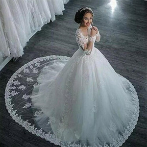 Vintage Ball Gown Wedding Dresses Long Sleeve Vestidos De Noiva 2021 Appliques Beaded Princess Lace Bridal Gowns Dress trouwjurk Jewel Neck