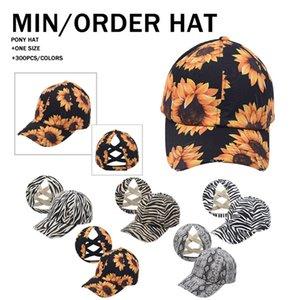 5 New styles Sunflower Ponytail Hat Zebra Stripes Criss Cross Printed Baseball Cap Newest Street Outdoor Sports Tide Hat LLA354