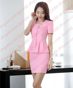 New Style Women Business Suits 2 Piece Skirt and Top Sets Pink Jacket Short Sleeve Office Ladies Work Wear Uniforms