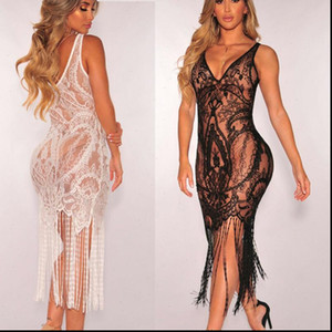 2021 Hot Brand Women Bandage Bodycon Hollow Lace Crochet Bathing Suit Bikini Swimwear Cover Up Beach Dress Soft Sundress