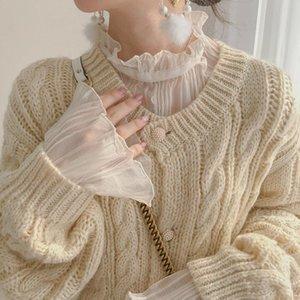Verano Nuevo encaje Mujer Blusa Ruffles Flare Modificada Solid Solid Lady Elegant Pulls Tops Tops de encaje Top Top Calidad