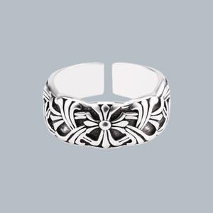 Make old Crowe cross heart men's Thai sier open ring women's fashion jewelry