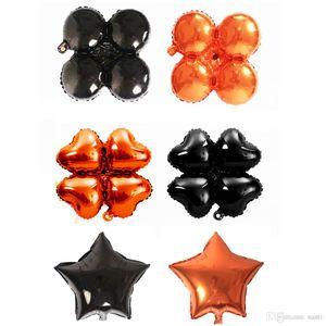 18 pouces Halloween ballons de ballons à quatre feuilles Heart Star Star Halloween Décorations Helium Balloon Fournitures JK1909
