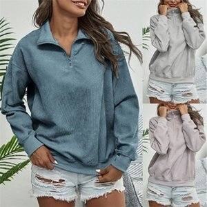 Womens Vintage Carduroy Felpe Stand Color Zip Up Pullover a maniche lunghe Autunno inverno Abbigliamento casual Tops Fashion_Discount