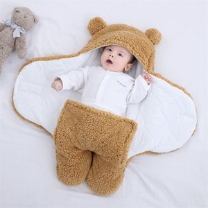 Baby Winter Warm Sleeping Bags Fluffy Fleece Swaddle Wrap Swaddling Stroller Wrap Toddler Blanket Baby Bedding Accessories 210816