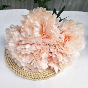 Five Head Peony Silk Fabric Simulation Peony Flowers Bridal Bouquet Fake Floral Wedding Party Decoration Red Pink OWD5035