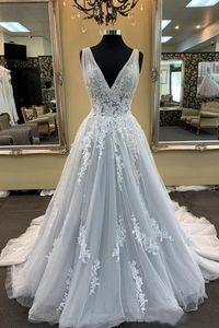 2021 Pretty A-Line Wedding Dresses Deep V-neck Straps Lace Appliques Sleeveless Long Country Chapel Bridal Gowns Plus Size Wedding Dress