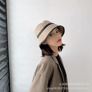 Face revealing Bucket versatile PU fisherman's Women's Patent leather autumn and winter new British bell Hat