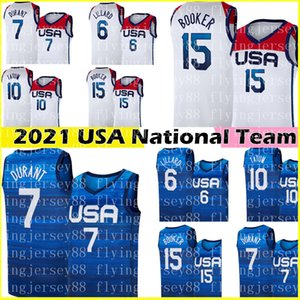 2021 Kevin 7 Durant Devin 15 Booker Jersey Damian 6 Lillard Jayson 10 Tatum Basketball Jerseys Team USA Tokyo Summer Olympics WHITE Blue