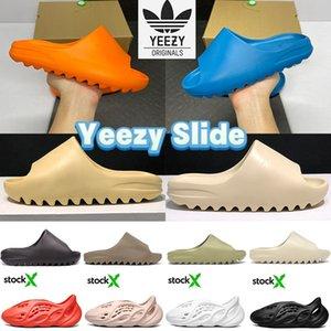 여름 슬리퍼 yeezy 슬라이드 사막 모래 수지 뼈 남자 여자 신발 패션 카니 웨스트 폼 러너 트리플 블랙 아라랏 그을음 지구 갈색 해변 쿨 스니커즈