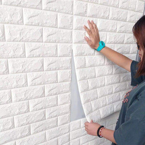 DIY Self Adhensive 3D Brick Wall Stickers Living Decor Foam Waterproof Wall Covering Wallpaper For TV Background Kids Room 77*70cm 144 V2