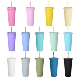 22oz Skinny Tumblers Fosco Colorido Colorido Conjuntos Acrílicos Com Tampas E Palhas Parede Dupla Plástico Reunable Copo Tumblers