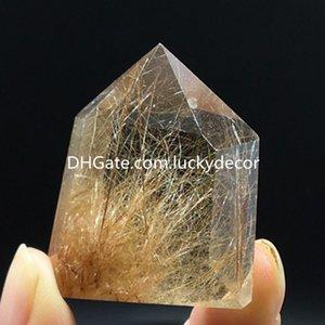 10 unids real Tíbet Himalaya High Altitud de 6 lados Solidada Punto de cristal Rutilado Punto de Cristal Rutilado Torre Varita de Cuarzo Bandeja 2-5cm Tamaño aleatorio