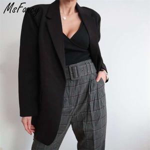 Msfancy Fashion Black Blazer Suits Women Plus Size Tailleur Femme Single Button Oversized Casual Jacket 210929
