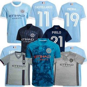 2021 2022 뉴욕 시티 FC 축구 유니폼 램프드 Pirlo Medina Moralez MLS 20 22 축구 남자와 아이 셔츠