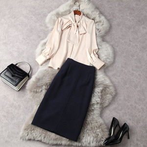 2021 Spring Long Sleeve Round Neck Pure Color Ribbon Tie Bow Blouse + Knee-Length Pencil Skirt Two Piece Suits 2 Pieces Set LF0711841