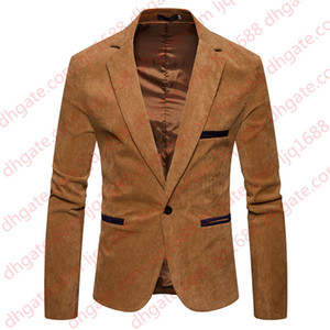 V Neck Long Sleeve Mens Corduroy Blazer Fashion Single Button Solid Color Mens Suits Jacket Spring Male Apparel