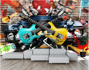 3d wall murals wallpaper for walls 3 d Graffiti tooling guitar music 3d wallpaer custom photo mural home decor in the living room