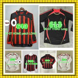 91 92 VAN BASTEN SAVICEVIC Mens RETRO Soccer Jerseys 03 07 GATTUSO INZAGHI MALDINI KAKA REDONDO RUI COSTA Home Long Football Shirt Uniforms