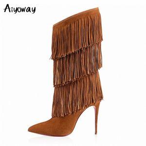 Grande tamanho mulheres borla mid bezerro botas marrom preto sexy pointed toe dedo alto salto franja inverno sapatos tamanho grande rua estilo aiyoway k64k #