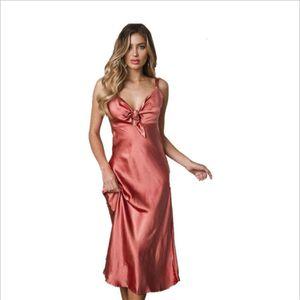 Estilo Puro 2020 Color Sexy Silk Sling Off Hombro Streted Satin Silk Silk Dresson Venta