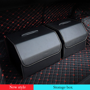 Solid color Leather Multifunction trunk organizer PU leather Storage Bag Folding With Food, drink, umbrella Tidying Car Trunk Stowing Box