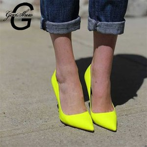 GENSHUO Brand Shoes 10 12CM Heels Women Pumps Stiletto Neon Yellow Sexy Party High Big Size 10 11 12 210610
