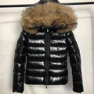 New Fashion womens Down jacket hood Sashes British style 100% Raccoon Fur winter Parkas White duck down coats Black winter coat S-XL