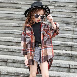 autumn new swallowtail girls shirt lapel childrens plaid shirt 8 10 12 kids girl clothes Girls classic plaid shirt 210306