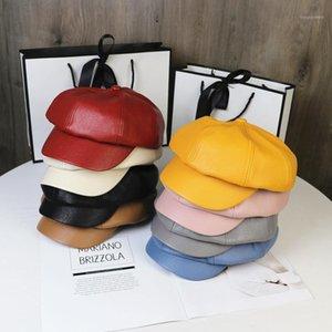 2020 New Classic PU Leather Women Beret Summer Thin Octagonal Cap Hats Stylish Artist Painter Newsboy Caps Black Grey Beret Hats1
