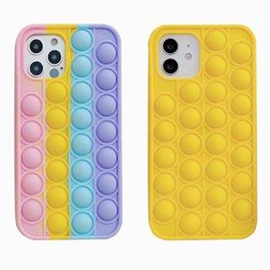 Pop it fidget Case Unique 3D Decompression Phone Cases For Iphone 12 Mini Pro 11 XR XS MAX X 10 8 7 Plus Push Soft Silicone Rainbow
